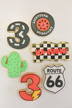 A Pixar Cars Third Birthday Party. See all of the details of this adorable third birthday party, featuring Lightning McQueen! Pixar Cars Birthday, Cars Birthday Parties, Birthday Ideas, Route 66, Third Birthday Boys, Disney Cars Party, Car Party, Car Cookies, Birthday Cookies