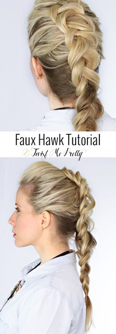The edgy faux hawk tutorial im so happy about this hairstyle right now! twist me pretty summer braids faux hawk summer braids twists summer braids twists summer braids faux hawk 18 easy braids fr kurzes haar Trendy Hairstyles, Braided Hairstyles, Fashion Hairstyles, Summer Hairstyles, Faux Hawk Braid, Faux Mohawk, Viking Hair, My Hairstyle, Braided Ponytail