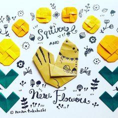 リス🐿と新しい四角いお花🌼 A squirrel🐿and new flowers🌼. #origami  #illustration  #paperflower  #papercraft  #squirrel  #flower #折り紙 #おりがみ #ペーパークラフト #ペーパーフラワー #イラスト #お花 #りす  #たかはしなな #nanatakahashi  #新しいおはな 手前におるのと後ろにおるので2種類つくれてカワイイ(*^^*)