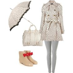 Not crazy about the shoes and the umbrella, but cute for rainy days