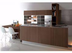Cocina en acero y madera con isla GHOST EUCALIPTUS by Xera by Arex diseño Daniele Lo Scalzo Moscheri