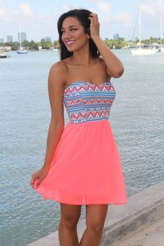 nice Neon Coral Short Dress