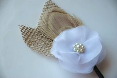 Burlap boutonniere - change the color of the flower to a blue that matches th bridesmaids dresses.  could match jaimies brooch bouquet