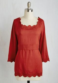 Sweet as a Safflower Top. Step into full sunlight looking lovely in this rust-red top! #orange #modcloth
