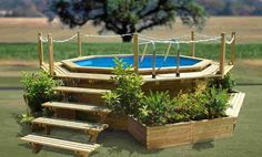 Outdoor , Attractive Small Swimming Pool Ideas : Wooden And Affordable Swimming Pool Idea Above The Ground With Unique Design