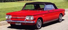 Chevrolet Corvair  my 1st car and it was red...dad won it in a poker game...i learned early on how to drive a stick.