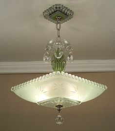 light blue pressed glass lamps   ... GREEN STARBURST CANDLEWICK Glass Ceiling Light Lamp Chandelier Rewired