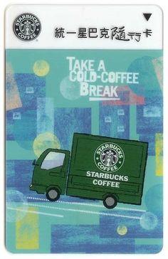 """Taiwan Coffee Break, Coffee Truck Starbucks Card - Taiwan released this Starbucks Card on June It's called """"Coffee Break"""" or """"Coffee Truck"""". Starbucks Gift Card, Starbucks Coffee, I Love Coffee, My Coffee, Coffee Truck, Coffee Cards, Coffee Branding, Gift Cards, Taiwan"""