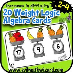 Algebra Weight Logic Cards - Fun and simple way to introduce algebraic thinking to younger grades.