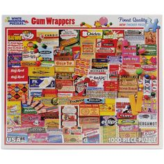 "1000 Pieces -- ""Gum Wrappers"" -- Art by Charlie Girard; Puzzle by White Mountain Puzzles, Inc. (No. 885S); Copyright 2012; Completed Size: 24"" x 30""; Purchased at Deseret Industries for $2.00 on 24 Nov 2014; Complete; Sold 23 Nov 2015 for $5.00"