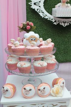 Adorable cupcakes at a little lamb birthday party! Baby Girl Shower Themes, Baby Shower Fun, Baby Shower Decorations, Holiday Cupcakes, Fun Cupcakes, Cupcake Cakes, Aid Adha, Farm Cupcake Toppers, Baby Birthday