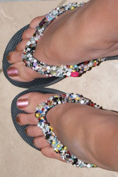 beaded flipflops I want to do these but with either black or dark blue flip flops and prettier beads