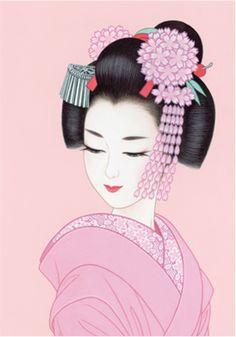 By Ichiro Tsuruta Japanese Drawings, Japanese Artwork, Japanese Painting, Japanese Prints, Chinese Painting, Japanese Folklore, Japanese Geisha, Japanese Beauty, Geisha Kunst