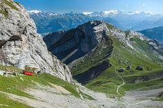 A view of the Swiss Alps taken from Pilatus Kulm station, Switzerland