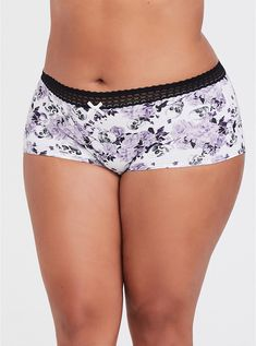 Skull Floral Cotton Boyshort Panty is part of braids - spandexWash cold; dry lowImported plus size underwear Plus Size Underwear, Plus Size Lingerie, Bra Lingerie, Lingerie Sleepwear, Women Lingerie, Fashion Lingerie, Plus Size Intimates, Beautiful Girl Indian, Matches Fashion