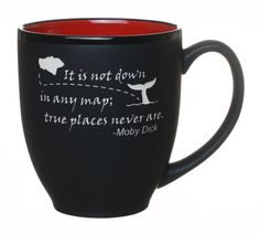'It Is Not Down in Any Map, True Places Never Are' Moby Dick Quote with Island and Whale Tail Graphic Engraved 14oz Coffee Tea Mug / Cup By Celery Street (Bistro Red) > More infor at the link of image  : Coffee Mugs