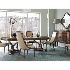 Stanley Furniture Avalon Heights 7 piece Epoch Dining Set with Olympia Host Chairs - STAN4139