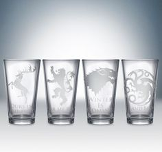 Friday Giveaway: Game of Thrones House Pint Glass Set by Partyware Inc. Our last glassware giveaway is today and it's a big one! George RR Martin's A Song of Ice and Fire series has become quite. Game Of Thrones Party, Game Of Thrones Houses, Game Of Thrones Gifts, House Sigil, Fire Fans, Got Party, Game Of Trones, Iron Throne, Shot Glasses