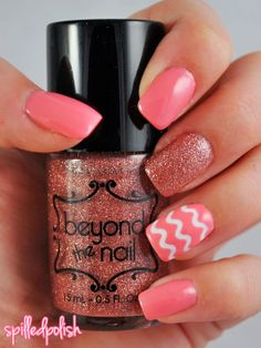 I would love these even more without the glitter on the middle finger...All coral with the one chevron pattern...So cute!!
