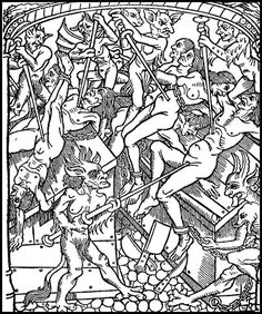 Punishment for the Seven Deadly Sins: the angry are dismembered alive. From Le grant kalendrier des Bergiers, printed by Nicolas le Rouge, Troyes, Medieval Drawings, Medieval Paintings, Medieval Witch, Medieval Art, Georg Heym, Witch Drawing, Maleficarum, Handpoke Tattoo, Satanic Art