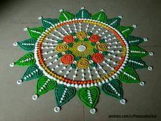 Beautiful and easy rangoli design for Dussehra Rangoli Designs Book, Best Rangoli Design, Rangoli Designs Diwali, Diwali Rangoli, Rangoli Designs With Dots, Rangoli With Dots, Kolam Designs, Simple Rangoli, Rangoli Colours
