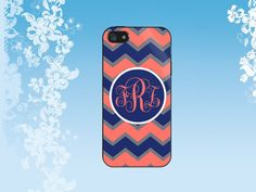 Bright colors chevron, coral navy blue - personalized Case for iPhone, Samsung Galaxy S2/S3/S4, Samsung Galaxy Tab/Note 2/3,HTC, Blackberry