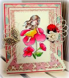 """Hi crafters! Monica here sharing a card I made using Dreamerland Crafts """"A Peaceful Breeze""""' which is one of the newer stamp lines in the MarkerPop store. These stamps to me have such a relaxing soft feel to them… just imagine your kids playing out in a field full of flowers, chasing the dog just …"""