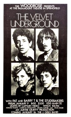 Velvet Underground – 1970 Concert Poster / Paramount Theatre, Springfield, Mass.