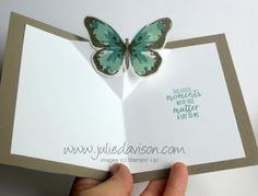 Stampin' Up! Watercolor Wings butterfly pop up card #stampinup www.juliedavison.com - Raising 3D-Plattform (Idee für Schmetterlingsgruß-Thinlits)                                                                                                                                                      More