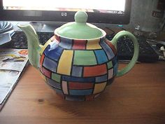 VERY COLOURFUL HAND PAINTED TEA POT