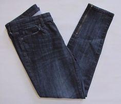 Gap Premium Skinny Ankle Jeans 27 4 Dark Stretch Denim Zippers Worn Blue 2013 #GAP #SlimSkinnyanklezipperhem