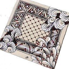 Link doesn't work but this pin's ZenTangle Frame is such a great inspiration. Such a fabulous idea! Tangle Doodle, Tangle Art, Zen Doodle, Doodle Art, Doodle Designs, Doodle Patterns, Zentangle Patterns, Zentangle Drawings, Doodles Zentangles