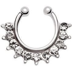 Silver Rhinestone Ball Nose Ring ($3.99) ❤ liked on Polyvore featuring jewelry, silver, silver jewelry, silver jewellery, body jewellery, body jewelry and party jewelry