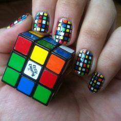 Rubik's Cube nail art