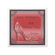 Shop Elegant Silver Framed Stiletto Red Birthday Paper Napkins created by Sarah_Designs. Personalize it with photos & text or purchase as is! Red Birthday Party, 25th Birthday Parties, Elegant Birthday Party, Sweet 16 Birthday, 50th Birthday, Party Napkins, Silver, 18th, Leather Texture