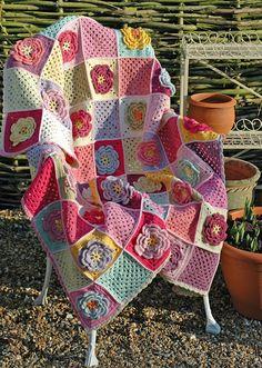 Manta con flores crochet