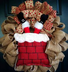 Burlap Santa Chimney Holiday Wreath