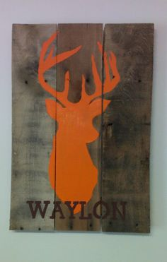Hunter's Deer Silhouette Pallet Sign.  We can also add any name, saying or scripture for free!  by BarberFarms