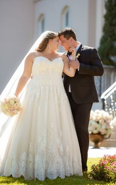 Wedding Dresses Lace Curvy Bride 6385 Romantic Ball Gown with Scalloped Lace Edge by Stella York.Wedding Dresses Lace Curvy Bride 6385 Romantic Ball Gown with Scalloped Lace Edge by Stella York Plus Size Wedding Gowns, Black Wedding Dresses, Princess Wedding Dresses, Boho Wedding Dress, Designer Wedding Dresses, Gown Wedding, Wedding Blog, Grey Dresses, Wedding Ideas