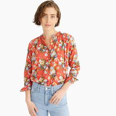 Crew for the Ruffle classic popover shirt in Liberty® coral floral for Women. Find the best selection of Women Shirts & Tops available in-stores and online. Crew Clothing, Light Jacket, Floral Tops, Coral, Clothes For Women, Liberty, How To Wear, Shirts, Classic