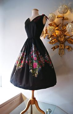 1950s Dress // Vintage 50s Rose Print Cotton by xtabayvintage