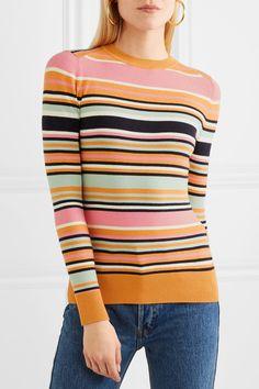 Multicolored cotton-blend Slips on cotton, spandex, nylon, silk Hand wash Designer color: Mango Blush/ Ice Water/ Tumeric Imported Donna Pinciotti, Flare Jeans, Color Combinations, Stripes, Pullover, Silk, My Style, 2d Design, Womens Fashion