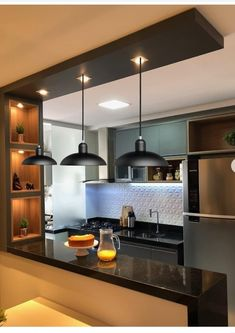 Kitchen Room Design, Home Room Design, Modern Kitchen Design, Interior Design Living Room, Small Kitchen Bar, Best Modern House Design, Home Decor Shelves, Ethnic Home Decor, Bedroom Cupboard Designs