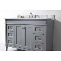Virtu USA Tiffany 49 in. W Bath Vanity in Gray with Marble Vanity Top in White with Round Basin - The Home Depot Carrara Marble Countertop, Granite Vanity Tops, Marble Vanity Tops, Best Bathroom Vanities, Single Sink Bathroom Vanity, Bathroom Vanity Cabinets, Single Vanities, Gray Vanity, Vanity Set