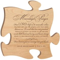 Marriage Prayer Wall Art Puzzle Piece (Maple)