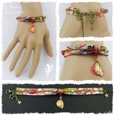 Bracelet Liberty 12, Mini Aile de Fée 1Rouge/CorailFlamboyant+Paillettes, bronze