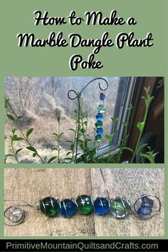 I'm going to make something cheery! So let me show you how to make a marble dangle plant poke, perfect addition to your flower planters. Gem Crafts, Wire Crafts, Garden Crafts, Garden Projects, Crafts To Make, Garden Ideas, Flat Marbles, Glass Garden Art, Garden Totems