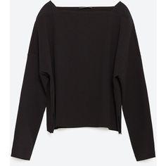 Zara Cropped Jacquard Sweatshirt (€27) ❤ liked on Polyvore featuring tops, hoodies, sweatshirts, black, black crop top, zara top, black sweatshirt, sweat shirts and black top