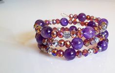 Items similar to Purple Summer Amethyst and Swarovski Crystal bracelet on Etsy Amethyst, Swarovski, My Etsy Shop, Purple, Trending Outfits, Unique Jewelry, Bracelets, Handmade Gifts, Check