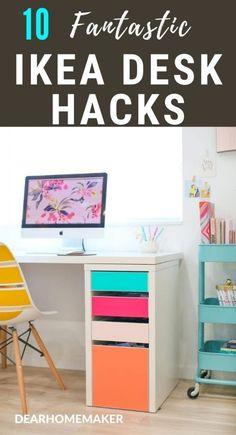 Ikea Furniture, Handmade Furniture, Furniture Makeover, Ikea Desk Drawers, Desk Hacks, Ikea Hacks, Ikea Corner Desk, Ikea Hack Storage, Ikea Decor